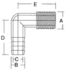 Elbow Pipe To Hose 1-1/4""