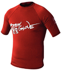 Basic Mens Short Sleeve Lycra Rash Guard, Size L Red