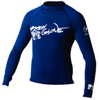 Basic Mens Long Sleeve Lycra Rash Guard, Size S Navy