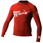 Basic Mens Long Sleeve Lycra Rash Guard, Size XS Red