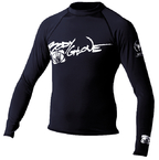 Basic Mens Long Sleeve Lycra Rash Guard, Size XXL Black