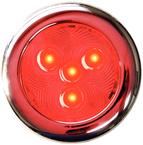 LED Puck Lights, Red w/Stainless Bezel, 3""