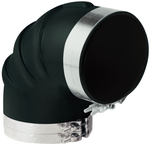 Black Rubber 90 Degree Elbow w/T-Bolt Clamps, 8""